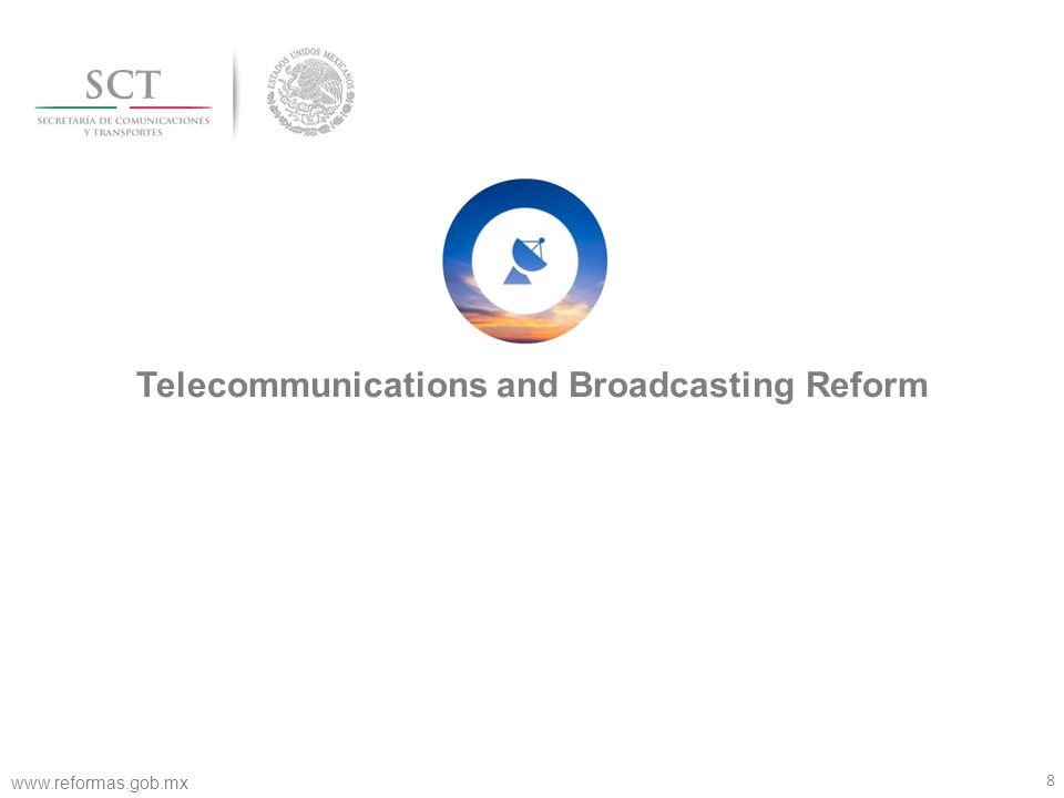 9 Mexico had been left behind in telecommunications Source: World Economic Forum, Reporte Information Technology 2013 The development of the telecommunications sector in Mexico has not been enough to improve productivity and welfare of the population Infrastructure and digital content Network Readiness Subindex World Economic Forum www.reformas.gob.mx