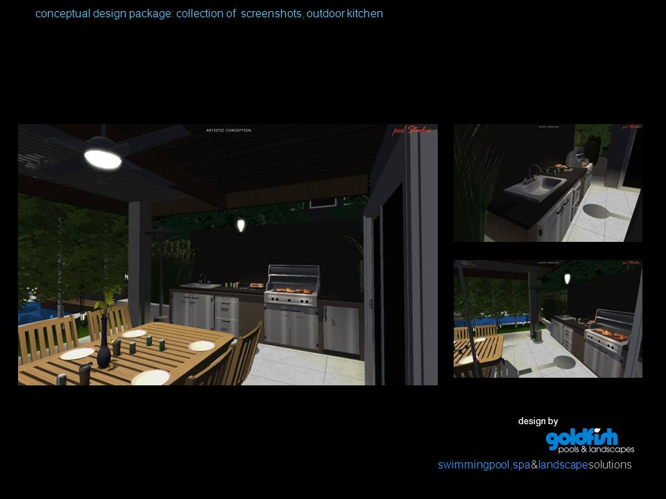 design by swimmingpool,spa&landscapesolutions conceptual design package: collection of screenshots, outdoor kitchen