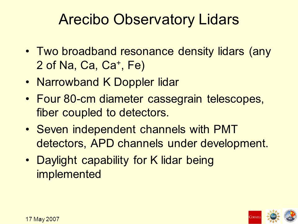 17 May 2007 Arecibo Observatory Lidars Two broadband resonance density lidars (any 2 of Na, Ca, Ca +, Fe) Narrowband K Doppler lidar Four 80-cm diameter cassegrain telescopes, fiber coupled to detectors.