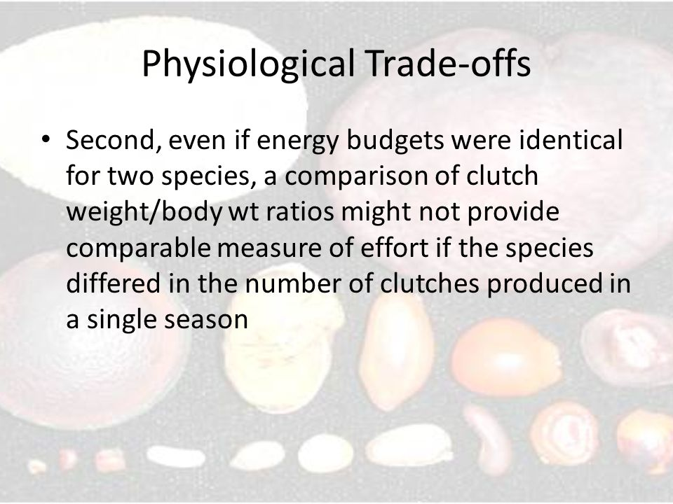 Physiological Trade-offs Second, even if energy budgets were identical for two species, a comparison of clutch weight/body wt ratios might not provide comparable measure of effort if the species differed in the number of clutches produced in a single season