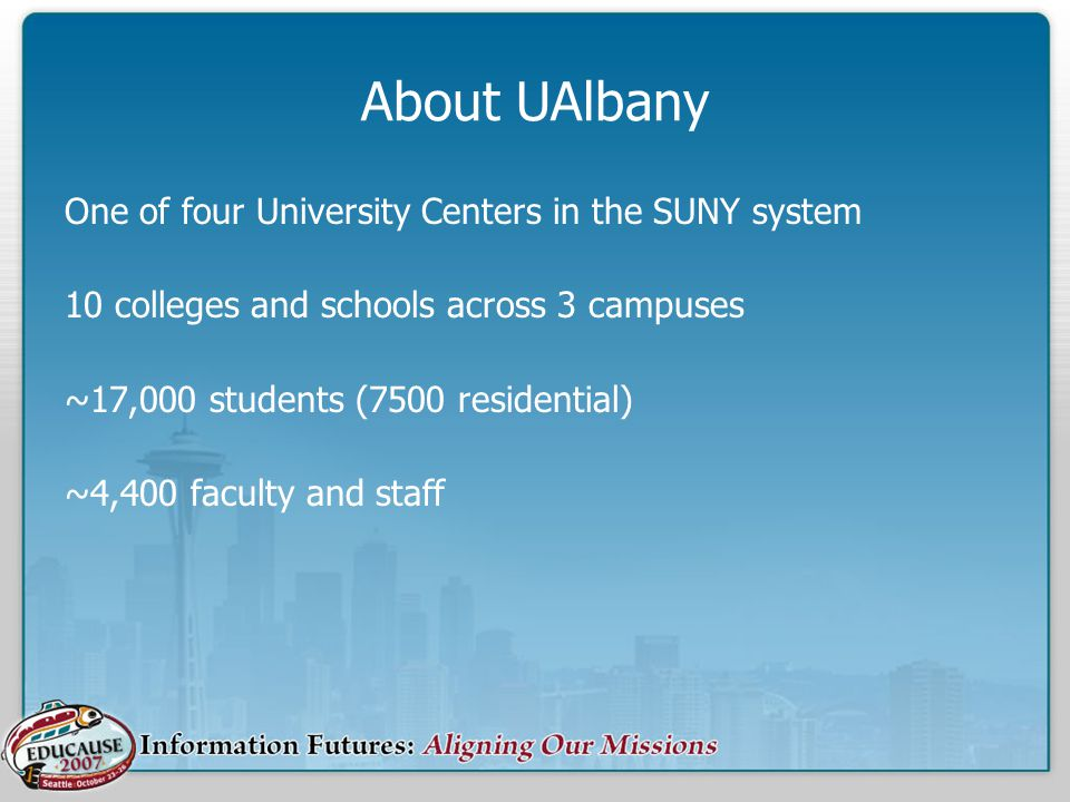 About UAlbany One of four University Centers in the SUNY system 10 colleges and schools across 3 campuses ~17,000 students (7500 residential) ~4,400 f