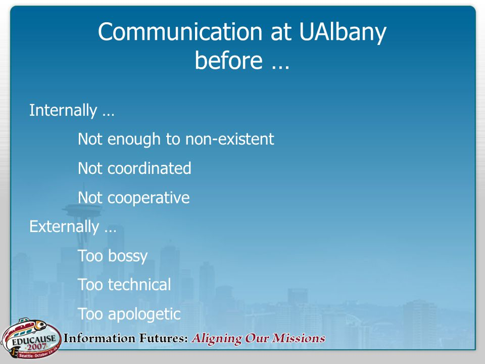 Communication at UAlbany before … Internally … Not enough to non-existent Not coordinated Not cooperative Externally … Too bossy Too technical Too apo