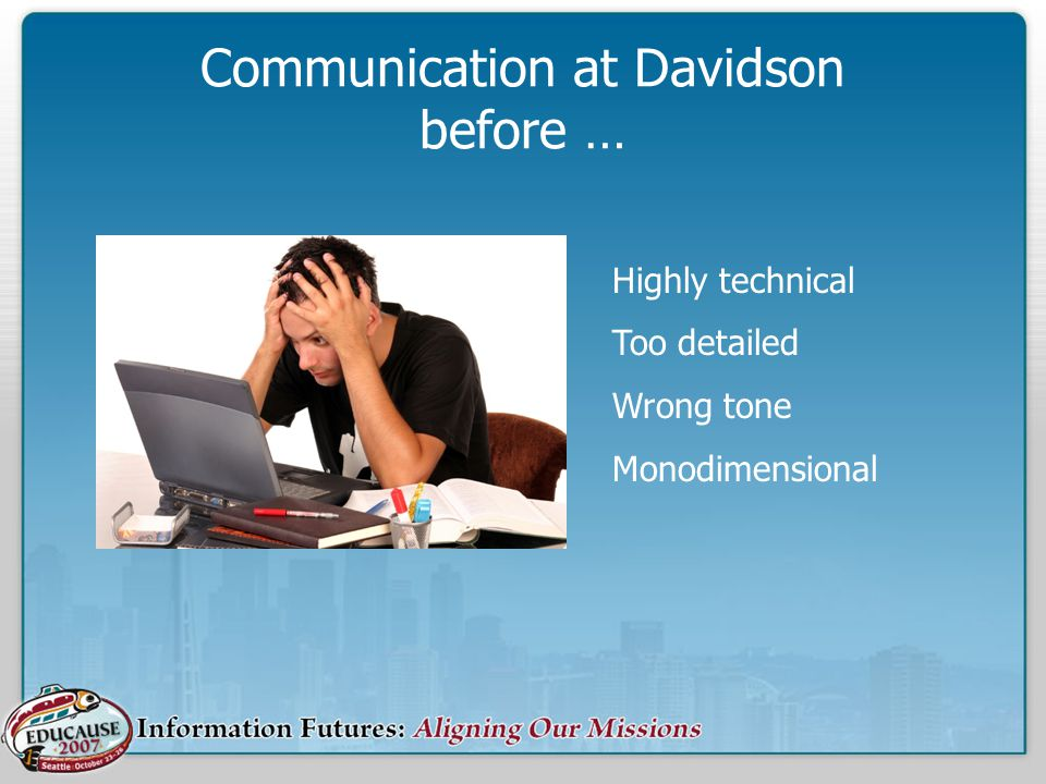 Communication at Davidson before … Highly technical Too detailed Wrong tone Monodimensional