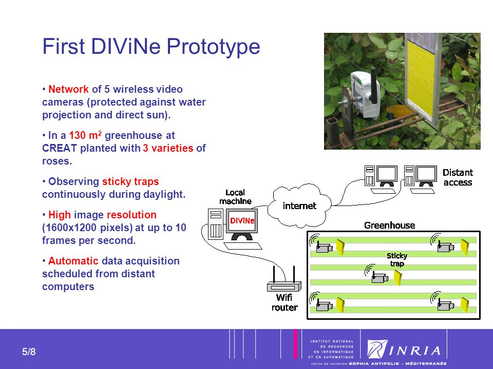 5 5/8 First DIViNe Prototype Network of 5 wireless video cameras (protected against water projection and direct sun). In a 130 m 2 greenhouse at CREAT