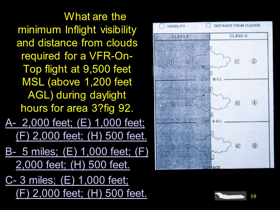 19 #4520. What are the minimum Inflight visibility and distance from clouds required for a VFR-On- Top flight at 9,500 feet MSL (above 1,200 feet AGL)