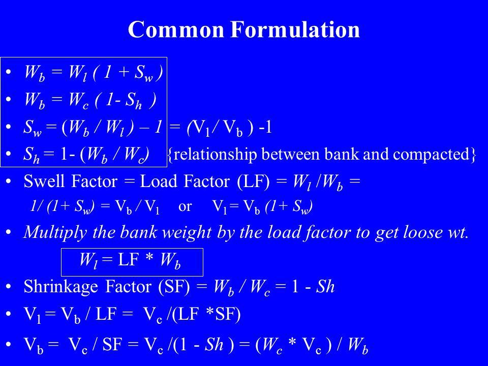 Basic Terminology Volumetric Measures: –V l, V b, V c.