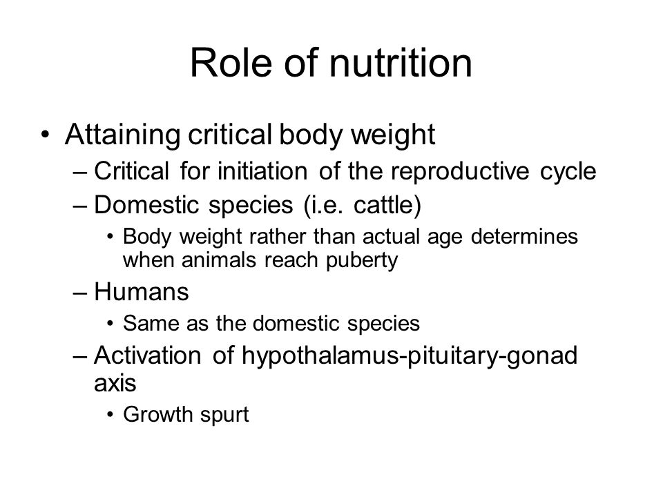 Role of nutrition Attaining critical body weight –Critical for initiation of the reproductive cycle –Domestic species (i.e. cattle) Body weight rather