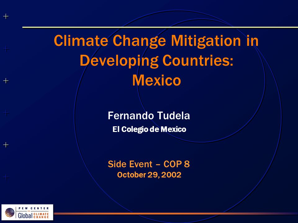Climate Change Mitigation in Developing Countries: Mexico Fernando Tudela El Colegio de Mexico Side Event – COP 8 October 29, 2002