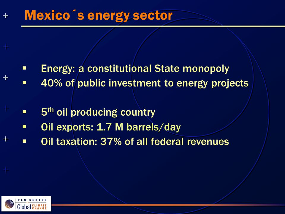 ++++++++++++++ ++++++++++++++ Energy intensity  In the last decade, energy intensity of the Mexican economy is decreasing Kilojoules / peso (GDP) Source: SENER, 2002