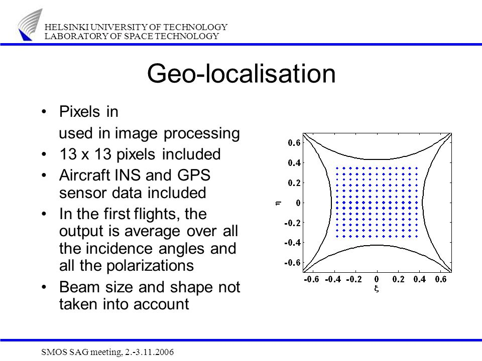HELSINKI UNIVERSITY OF TECHNOLOGY LABORATORY OF SPACE TECHNOLOGY SMOS SAG meeting, 2.-3.11.2006 Geo-localisation Pixels in used in image processing 13