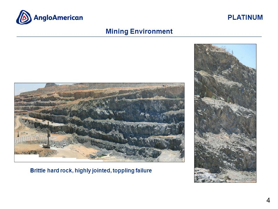 PLATINUM Mining Environment Brittle hard rock, highly jointed, toppling failure 4