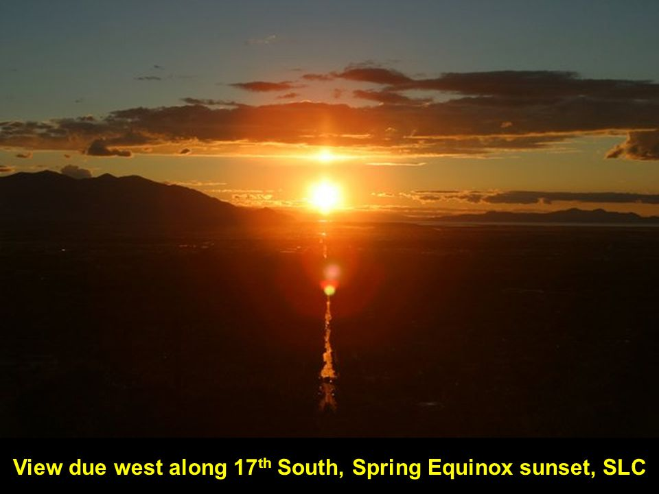 View due west along 17 th South, Spring Equinox sunset, SLC
