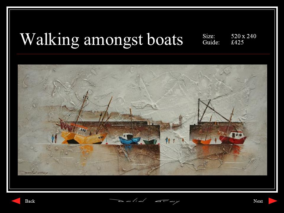 Walking amongst boats Size:520 x 240 Guide:£425 NextBack