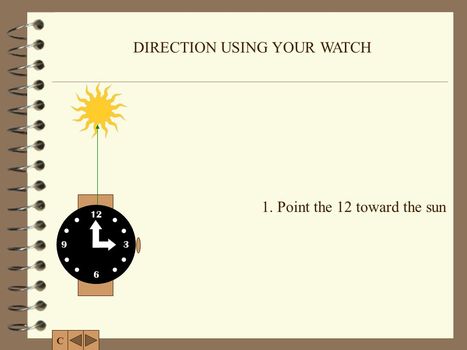 DIRECTION USING YOUR WATCH 1.Point the 12 toward the sun 2.
