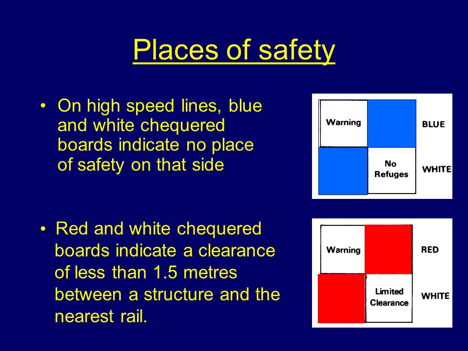 Places of safety On high speed lines, blue and white chequered boards indicate no place of safety on that side Red and white chequered boards indicate a clearance of less than 1.5 metres between a structure and the nearest rail.
