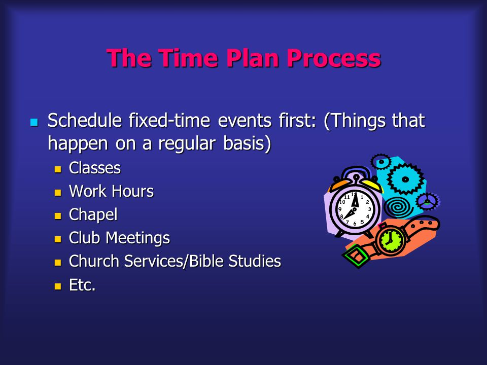 The Time Plan Process Schedule fixed-time events first: (Things that happen on a regular basis) Schedule fixed-time events first: (Things that happen on a regular basis) Classes Classes Work Hours Work Hours Chapel Chapel Club Meetings Club Meetings Church Services/Bible Studies Church Services/Bible Studies Etc.