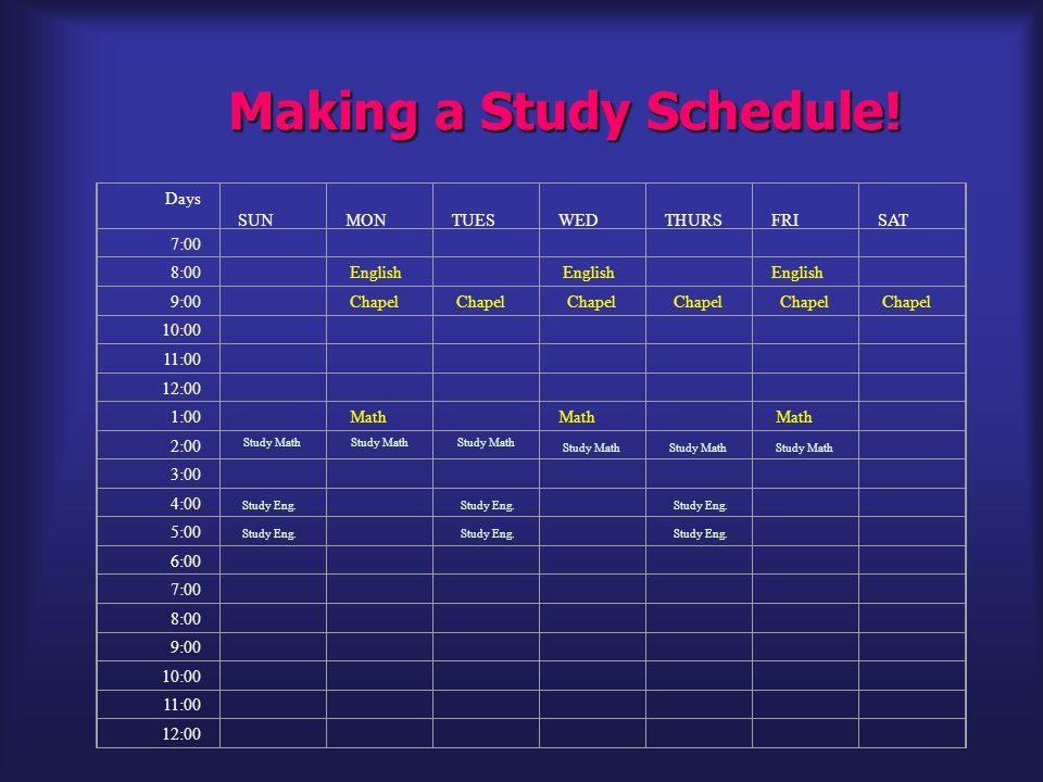 Making a Study Schedule.