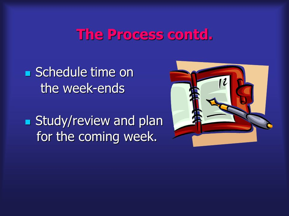 The Process contd. Schedule time on Schedule time on the week-ends the week-ends Study/review and plan Study/review and plan for the coming week. for