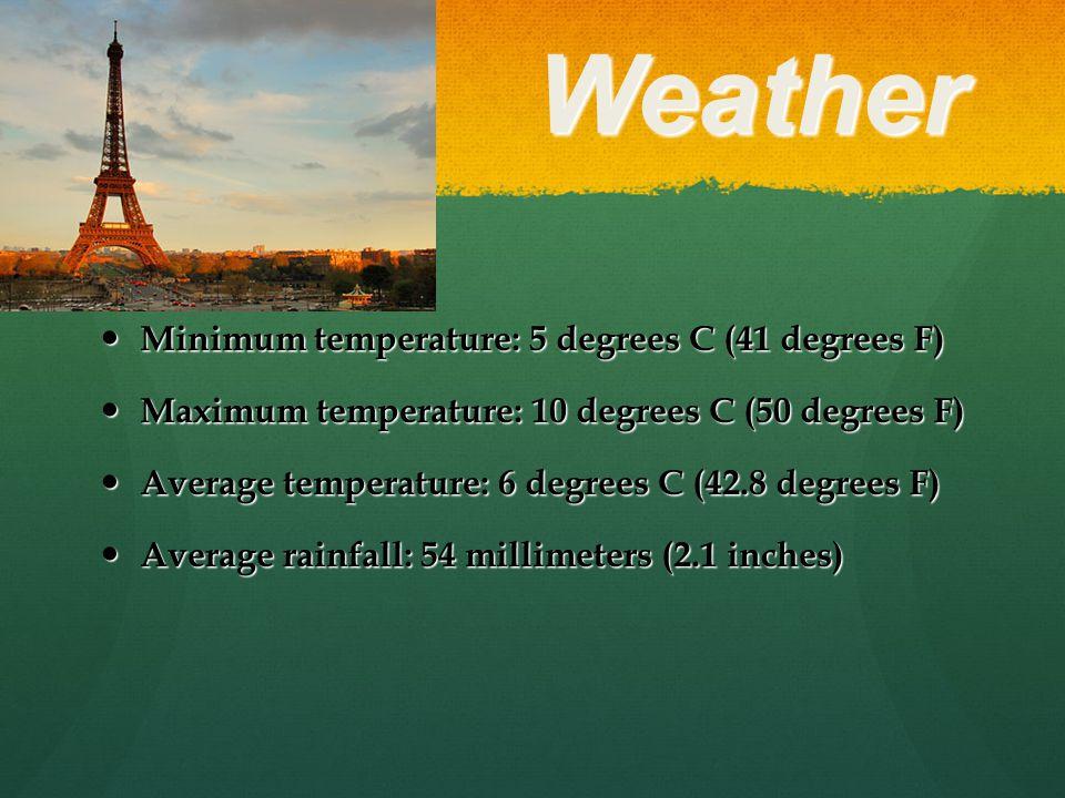 Weather Minimum temperature: 5 degrees C (41 degrees F) Minimum temperature: 5 degrees C (41 degrees F) Maximum temperature: 10 degrees C (50 degrees F) Maximum temperature: 10 degrees C (50 degrees F) Average temperature: 6 degrees C (42.8 degrees F) Average temperature: 6 degrees C (42.8 degrees F) Average rainfall: 54 millimeters (2.1 inches) Average rainfall: 54 millimeters (2.1 inches)