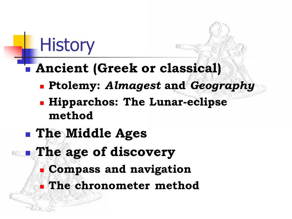 History Ancient (Greek or classical) Ptolemy: Almagest and Geography Hipparchos: The Lunar-eclipse method The Middle Ages The age of discovery Compass and navigation The chronometer method