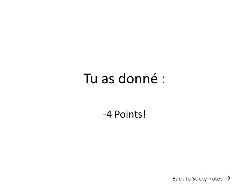 Tu as donné : -4 Points! Back to Sticky notes 
