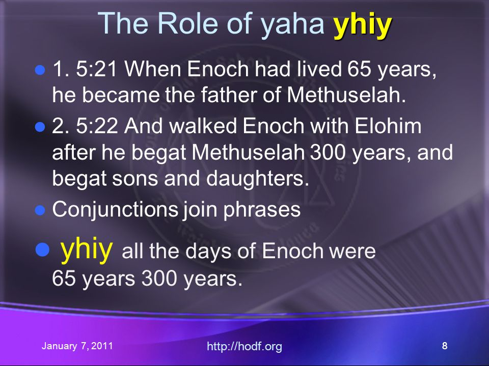 January 7, 2011 http://hodf.org 19 yhiy The Role of yaha yhiy 3.Therefore (thus), all the days of Enoch were 65 years (v21) + 300 years (v22).