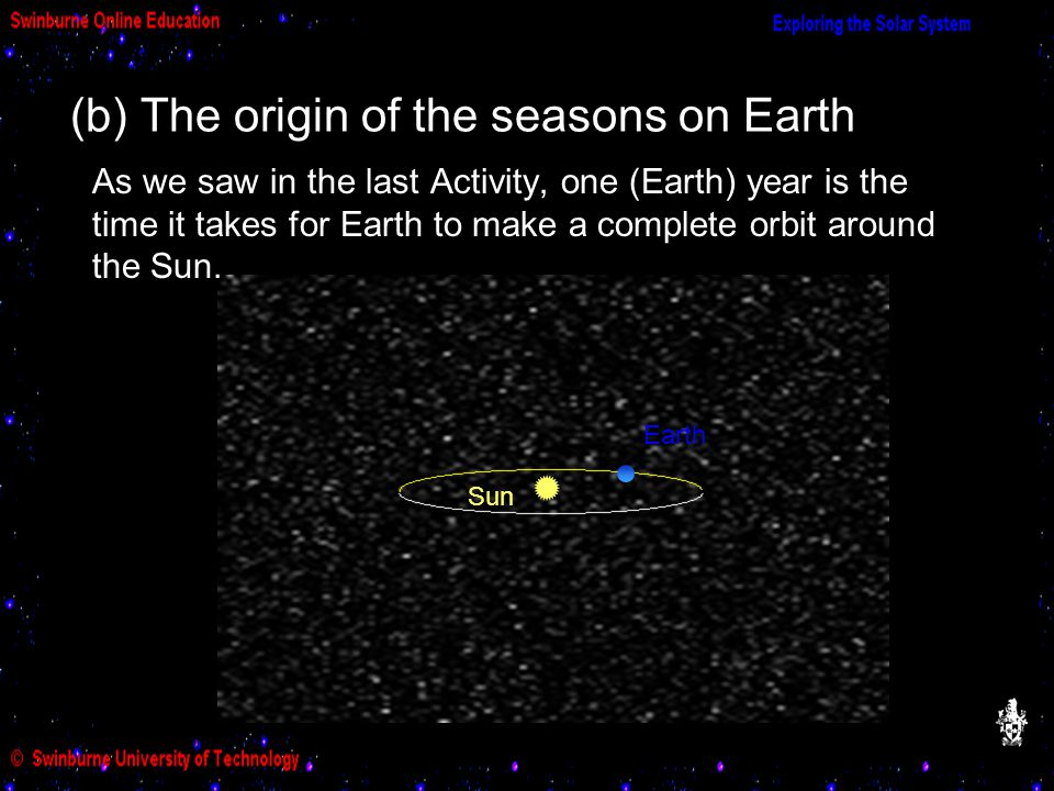 (b) The origin of the seasons on Earth Sun Earth As we saw in the last Activity, one (Earth) year is the time it takes for Earth to make a complete orbit around the Sun.