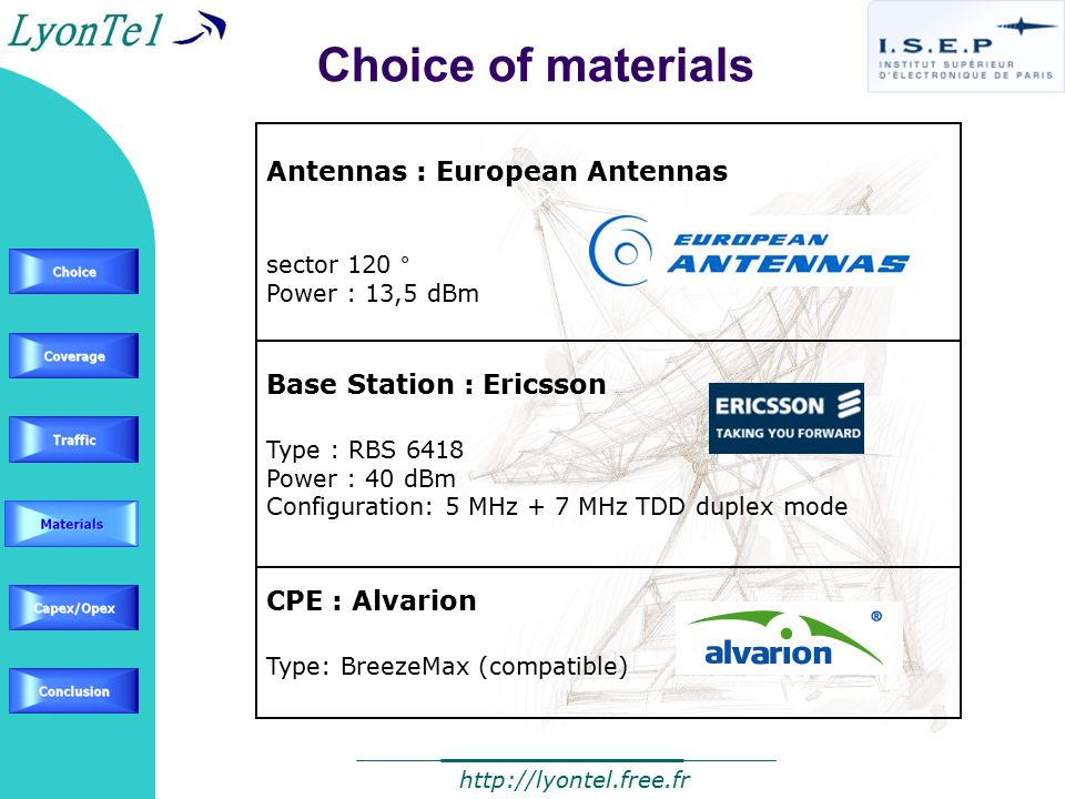Antennas : European Antennas sector 120 ° Power : 13,5 dBm Base Station : Ericsson Type : RBS 6418 Power : 40 dBm Configuration: 5 MHz + 7 MHz TDD duplex mode CPE : Alvarion Type: BreezeMax (compatible) Choice of materials