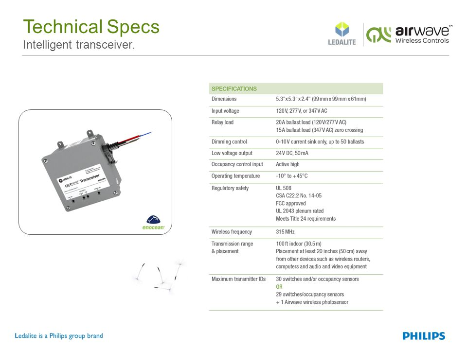 Technical Specs Intelligent transceiver.