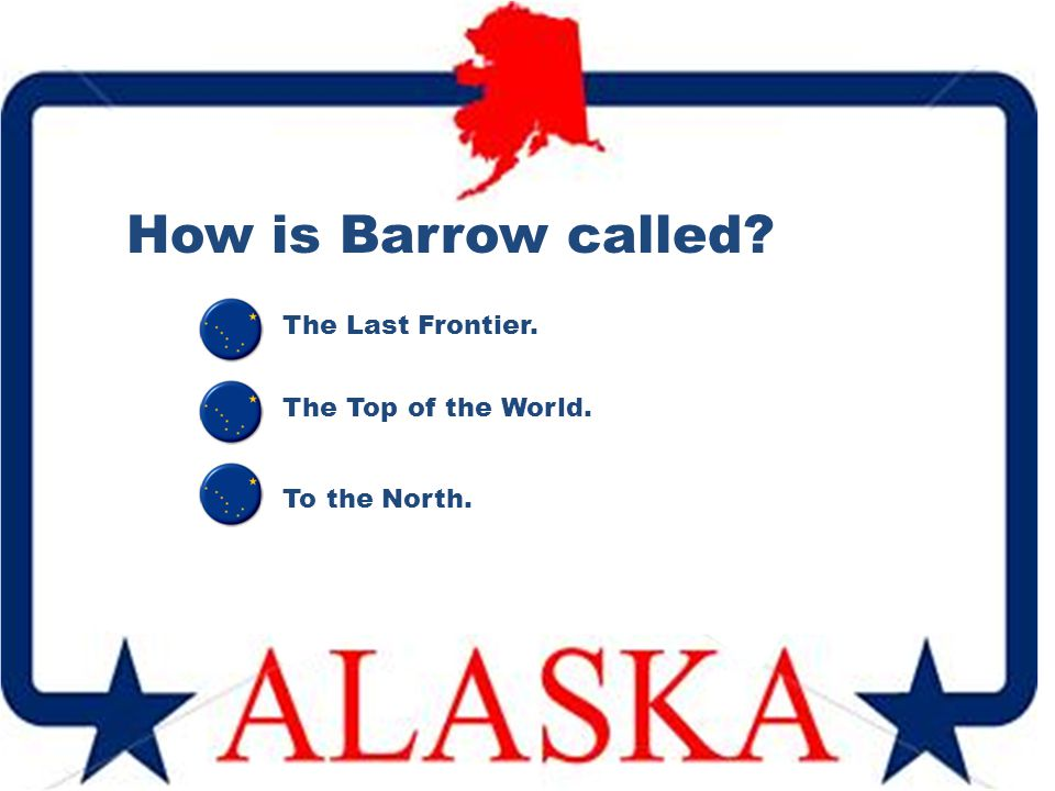 How is Barrow called? The Top of the World. The Last Frontier. To the North.