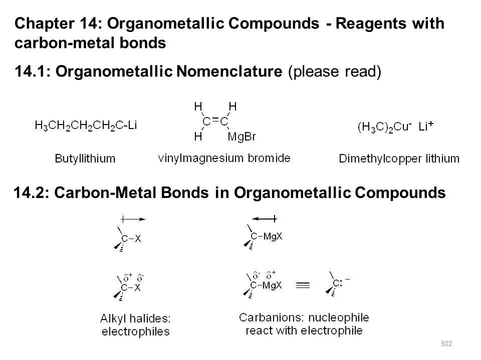 303 Alkyl halides will react with some metals (M 0 ) in ether or THF to form organometallic reagents 14.3: Preparation of Organolithium Compounds Organolithium Compounds R-X R-Li + LiX 2 Li (0) diethyl ether organolithium reagents are most commonly used as very strong bases and in reactions with carbonyl compounds R-X R-M R-H + M-OH H 2 O M (0)