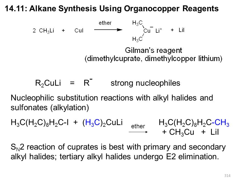 314 14.11: Alkane Synthesis Using Organocopper Reagents R 2 CuLi = R - strong nucleophiles Nucleophilic substitution reactions with alkyl halides and