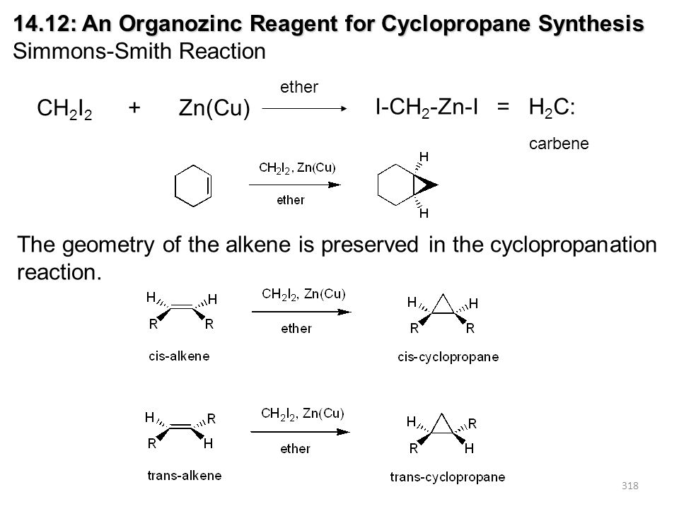318 14.12: An Organozinc Reagent for Cyclopropane Synthesis Simmons-Smith Reaction CH 2 I 2 + Zn(Cu) ether I-CH 2 -Zn-I = H 2 C: carbene The geometry