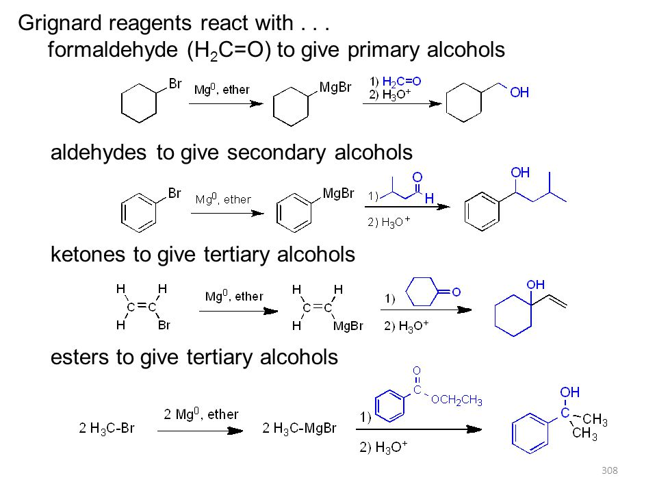 308 Grignard reagents react with... formaldehyde (H 2 C=O) to give primary alcohols aldehydes to give secondary alcohols ketones to give tertiary alco