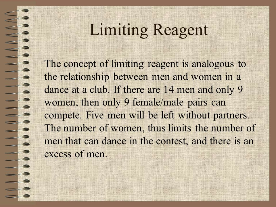 Limiting Reagent The concept of limiting reagent is analogous to the relationship between men and women in a dance at a club. If there are 14 men and