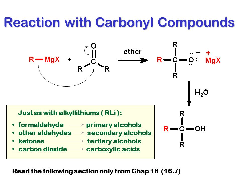 Reaction with Carbonyl Compounds Just as with alkyllithiums ( RLi ): formaldehyde primary alcohols other aldehydes secondary alcohols ketones tertiary alcohols carbon dioxide carboxylic acids Read the following section only from Chap 16 (16.7)