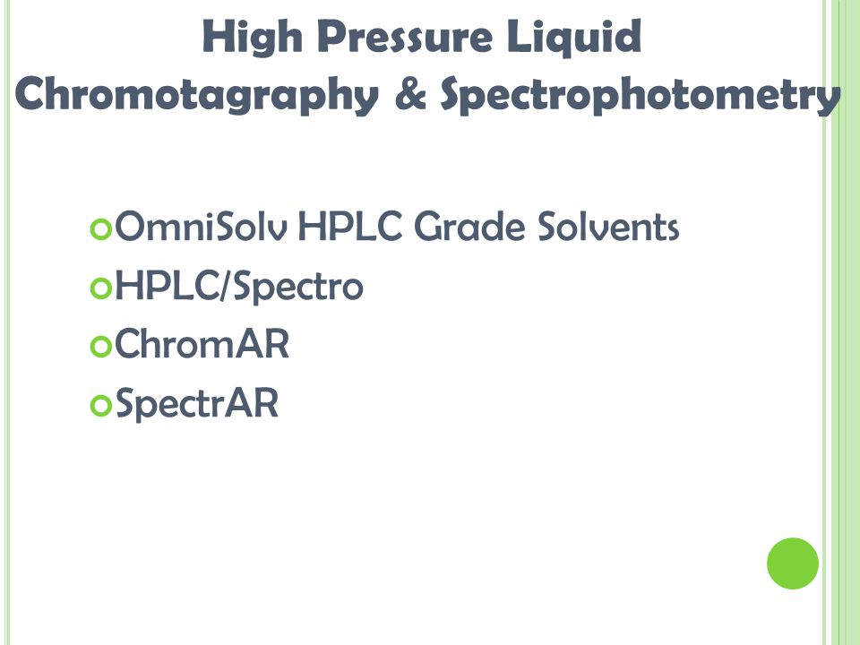 OmniSolv HPLC Grade Solvents HPLC/Spectro ChromAR SpectrAR High Pressure Liquid Chromotagraphy & Spectrophotometry