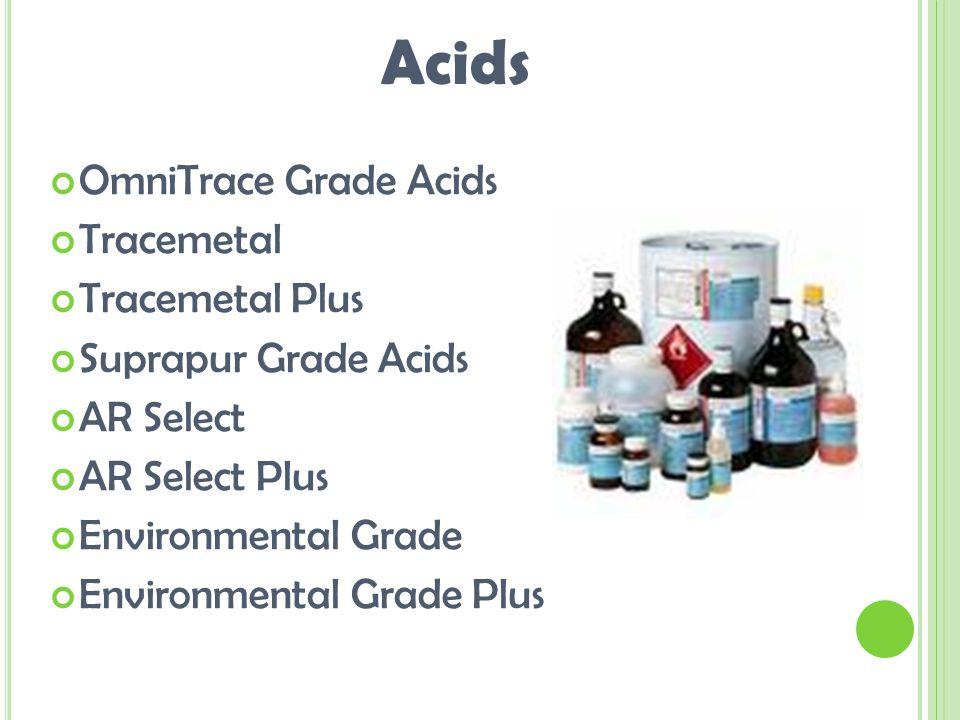 OmniTrace Grade Acids Tracemetal Tracemetal Plus Suprapur Grade Acids AR Select AR Select Plus Environmental Grade Environmental Grade Plus Acids