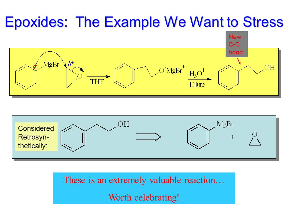 Epoxides: The Example We Want to Stress These is an extremely valuable reaction… Worth celebrating! Considered Retrosyn- thetically: -- ++ New C-C