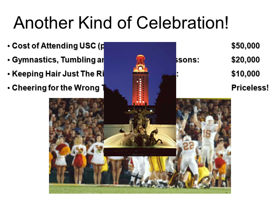 Another Kind of Celebration! Cost of Attending USC (per year): $50,000 Cost of Attending USC (per year): $50,000 Gymnastics, Tumbling and Cheerleading