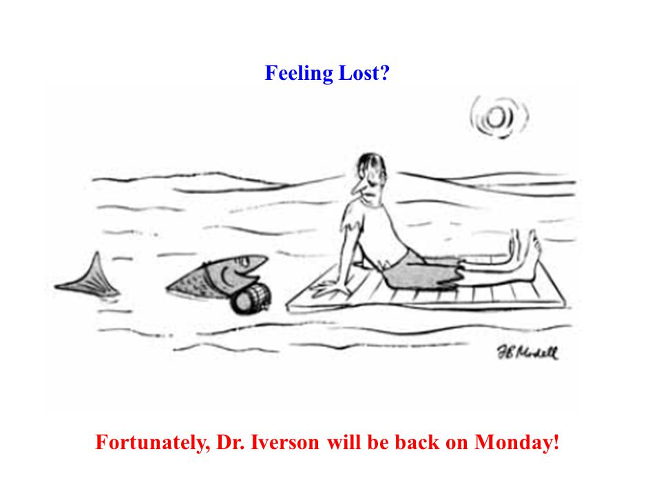 Feeling Lost? Fortunately, Dr. Iverson will be back on Monday!