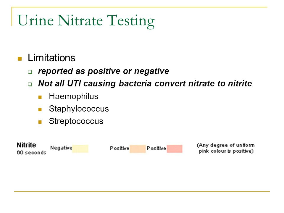 Urine Nitrate Testing Limitations  reported as positive or negative  Not all UTI causing bacteria convert nitrate to nitrite Haemophilus Staphylococcus Streptococcus