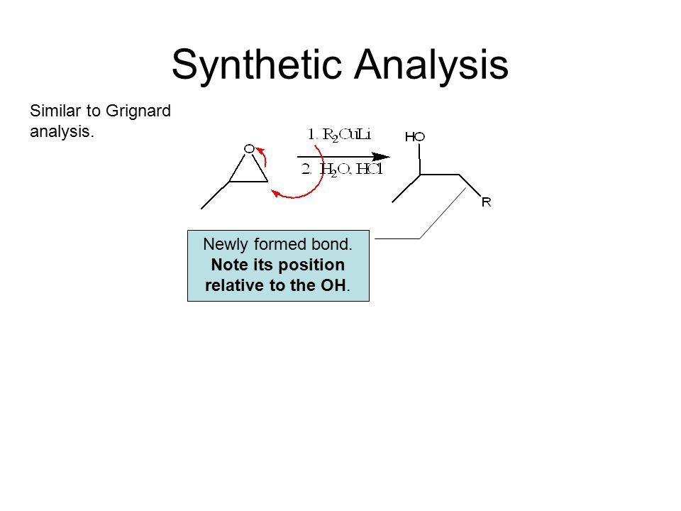 Synthetic Analysis Newly formed bond. Note its position relative to the OH.