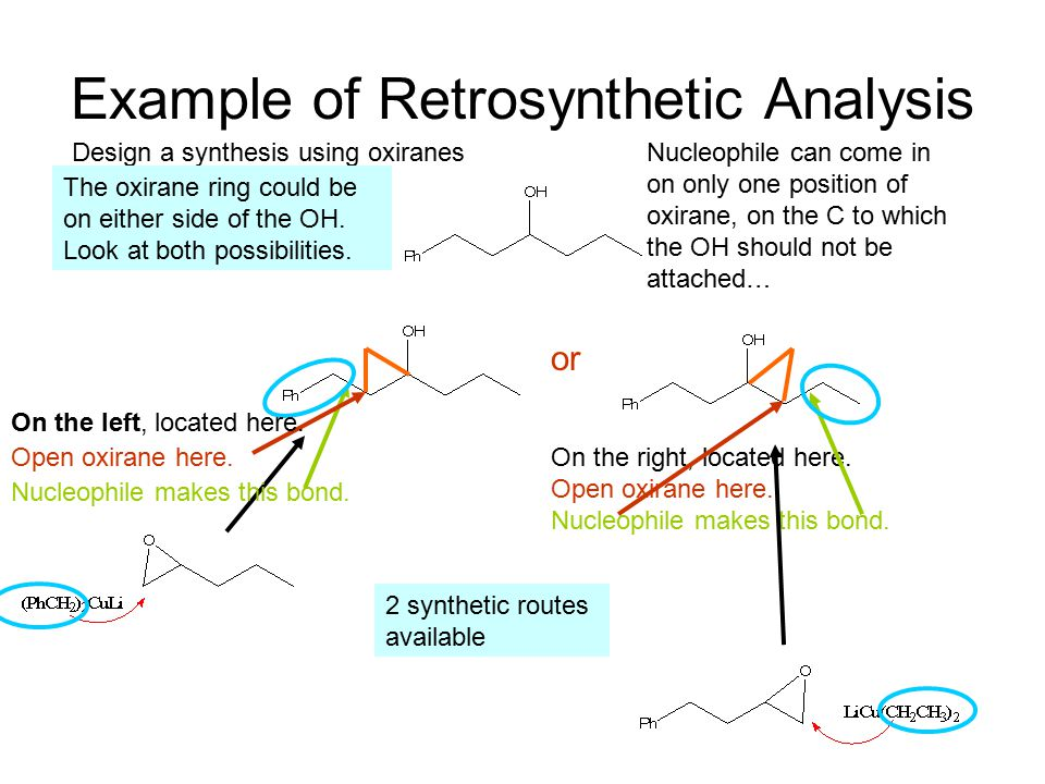 Example of Retrosynthetic Analysis Design a synthesis using oxiranes The oxirane ring could be on either side of the OH.