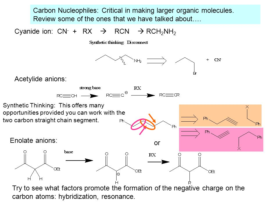Carbon Nucleophiles: Critical in making larger organic molecules.