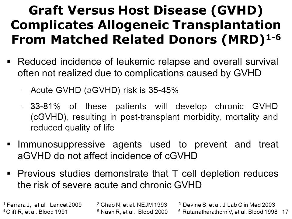 17  Reduced incidence of leukemic relapse and overall survival often not realized due to complications caused by GVHD  Acute GVHD (aGVHD) risk is 35
