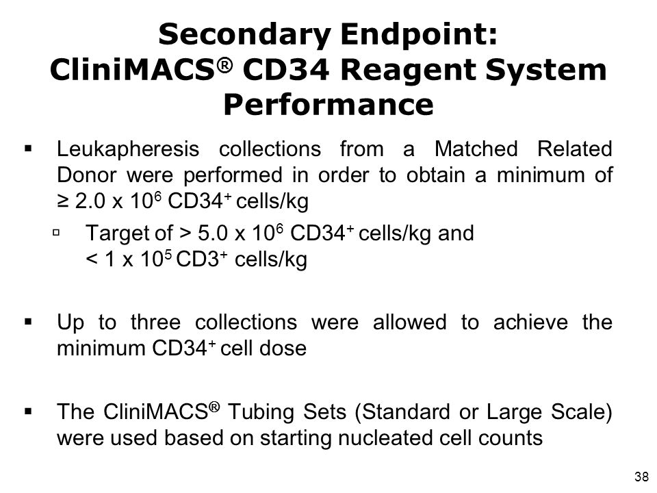 38  Leukapheresis collections from a Matched Related Donor were performed in order to obtain a minimum of ≥ 2.0 x 10 6 CD34 + cells/kg  Target of >