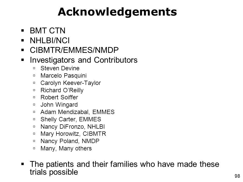 98 Acknowledgements  BMT CTN  NHLBI/NCI  CIBMTR/EMMES/NMDP  Investigators and Contributors  Steven Devine  Marcelo Pasquini  Carolyn Keever-Tay
