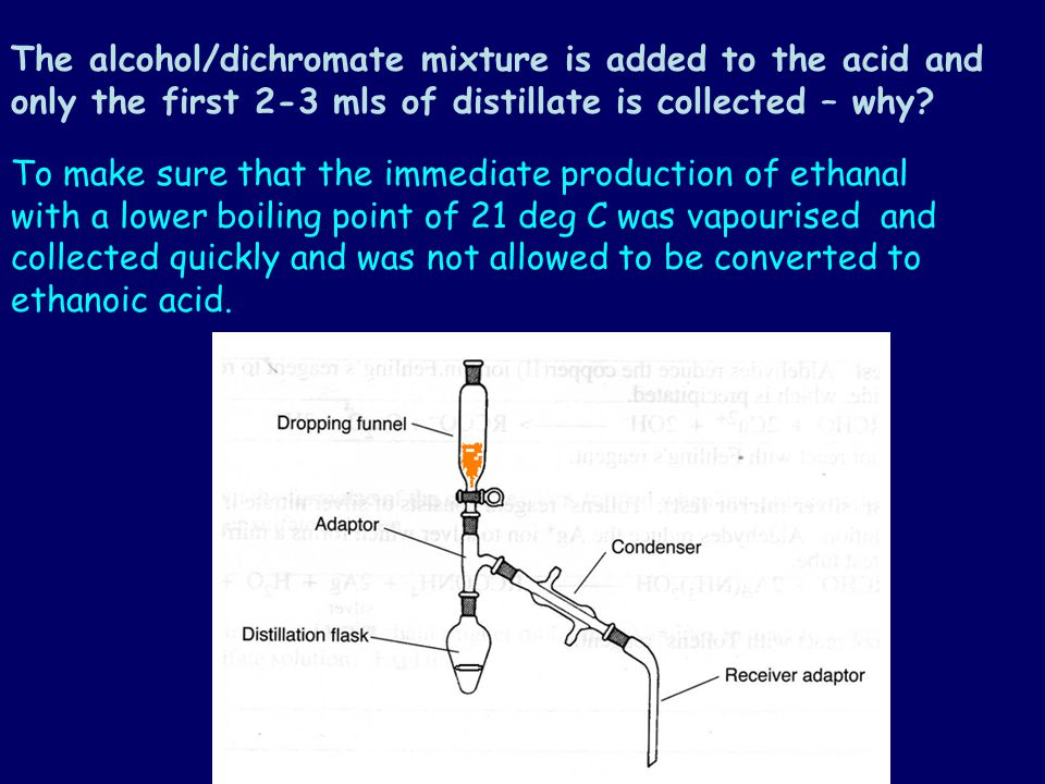 To make sure a reaction goes to completion one such as: Primary alcohol is completely oxidised to form a carboxylic acid A secondary alcohol is oxidised to form a ketone You would use a reflux arrangement