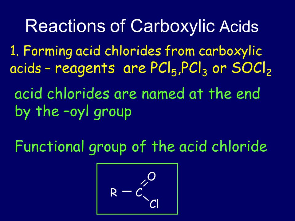 Reactions of Acid Chlorides 2.